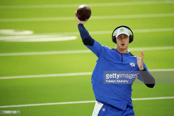Jared Goff of the Los Angeles Rams warms up before the game against the San Francisco 49ers at SoFi Stadium on November 29, 2020 in Inglewood,...