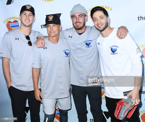 Jared Goff Rob Lowe Cody Bellinger and Ryan Braun attend California Strong Celebrity Softball Game at Pepperdine University Baseball Field on January...