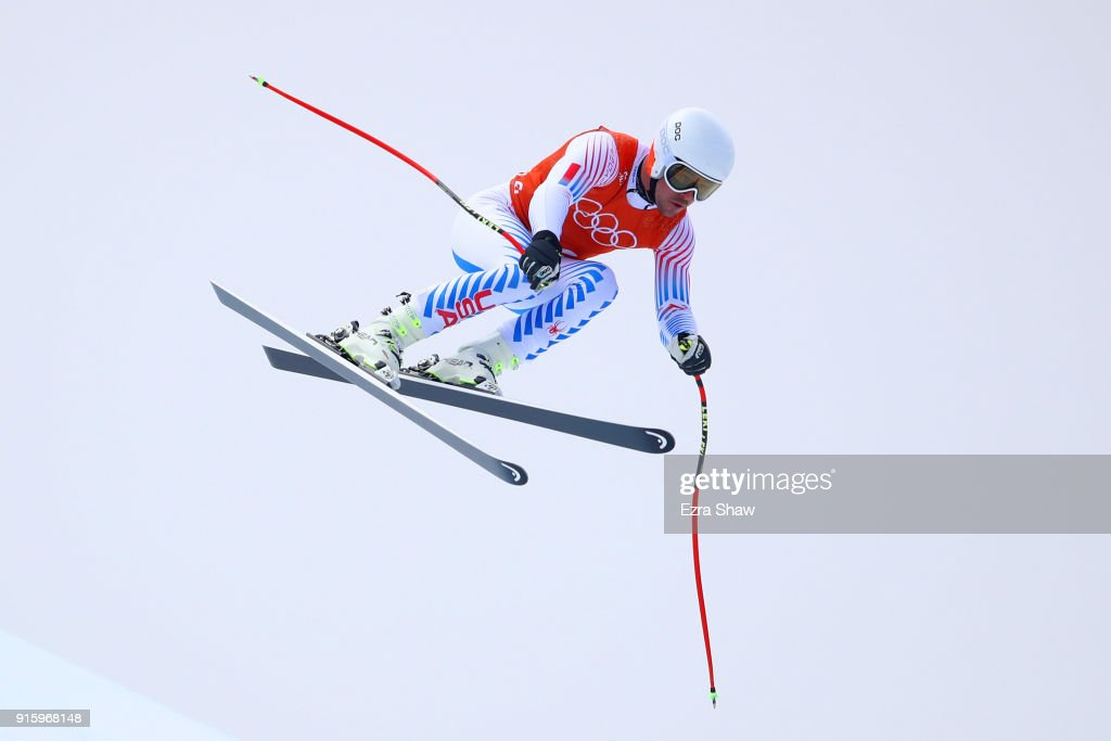 Jared Goldberg of the United States makes a run during the Men's Downhill Alpine Skiing training at Jeongseon Alpine Centre on February 9, 2018 in Pyeongchang-gun, South Korea.