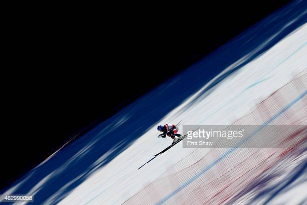 Jared Goldberg of the United States races during the Men's Alpine Combined Downhill run on the Birds of Prey racecourse on Day 7 of the 2015 FIS...