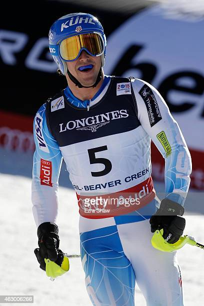 Jared Goldberg of the United States reacts after crossing the finish of the Men's Alpine Combined Slalom run in Red Tail Stadium on Day 7 of the 2015...