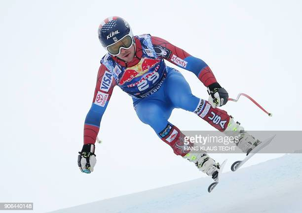 Jared Goldberg of the US performs during a training session of the FIS Alpine World Cup Men's downhill event in Kitzbuehel Austria on January 18 2018...