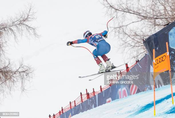 Jared Goldberg of the USA performs during a training session of the FIS Alpine World Cup Men's downhill event in Kitzbuehel Austria on January 18...