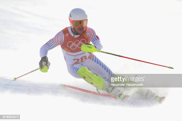 Jared Goldberg of USA competes during Men's Alpine Combined Slalom on day four of the PyeongChang 2018 Winter Olympic Games at Jeongseon Alpine...