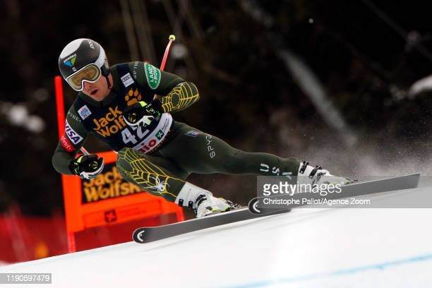 Jared Goldberg of USA in action during the Audi FIS Alpine Ski World Cup Men's Downhill on December 27, 2019 in Bormio Italy.