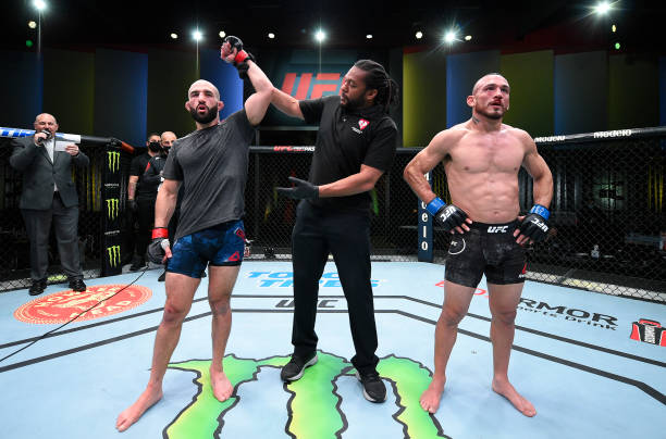 Jared Gordon reacts after his victory over Danny Chavez in a featherweight bout during the UFC Fight Night event at UFC APEX on February 20, 2021 in...