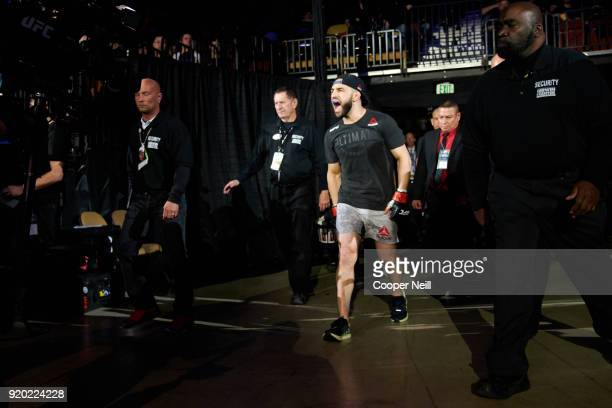 Jared Gordon walks to the Octagon before fighting Carlos Diego Ferreira during the UFC Fight Night event at Frank Erwin Center on February 18 2018 in...