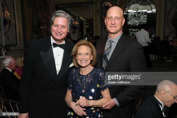 Jared Goss Huguette Schlesinger and George Pisegna attends The Hort's New York Flower Show Dinner Dance at The Pierre Hotel on April 24 2018 in New...