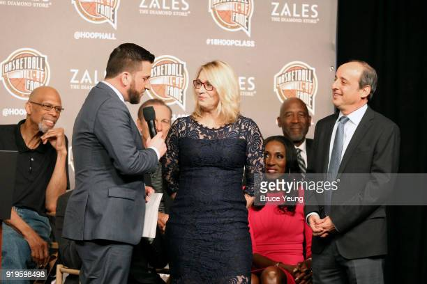 Jared Greenberg announces the Gowdy award winners Doris Burke and Andy Bernstein during the 2018 Naismith Memorial Basketball Hall of Fame...