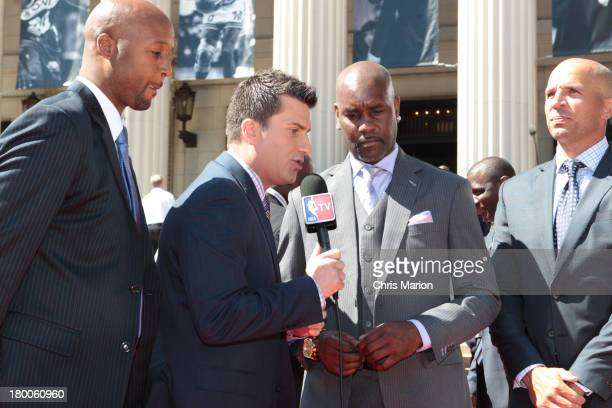 Jared Greenburg of NBATV speaks to Inductee Gary Payton along with Brian Shaw and Jason Kidd on the red carpet prior to the 2013 Basketball Hall of...