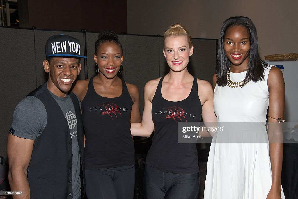 Jared Grimes (L) and Damaris Lewis (R) and Rockettes attend the 2015 Garden of Dreams Talent Show rehearsal at Radio City Music Hall on May 28, 2015 in New York City.