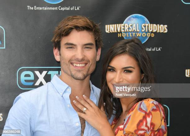 Jared Haibon and Ashley Iaconetti visit Extra at Universal Studios Hollywood on July 11 2018 in Universal City California