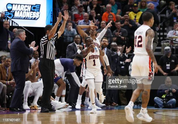 Jared Harper of the Auburn Tigers reacts during the second half against the New Mexico State Aggies in the first round of the 2019 NCAA Men's...