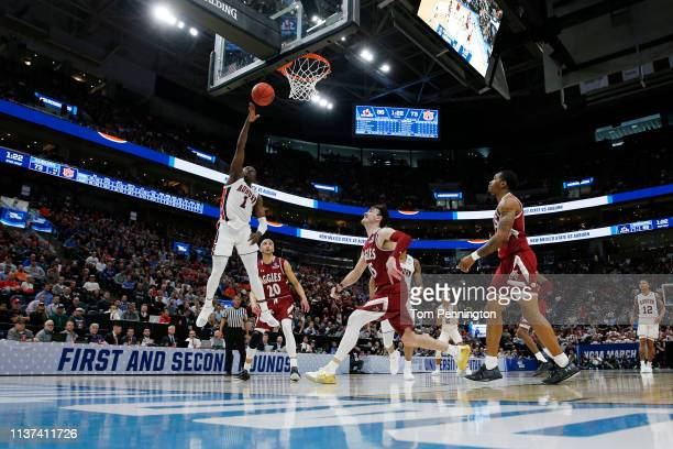 Jared Harper of the Auburn Tigers shoots the ball during the second half against the New Mexico State Aggies in the first round of the 2019 NCAA...