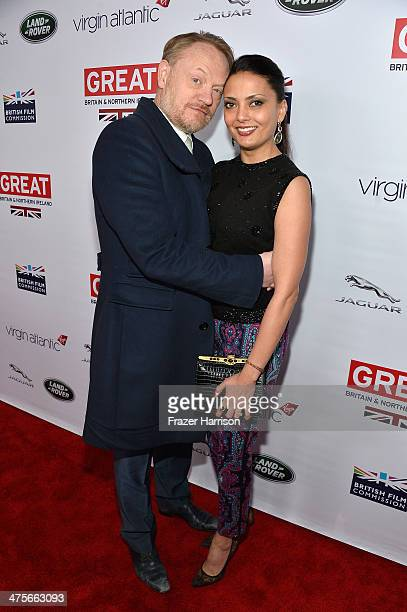 Jared Harris and Allegra Riggio attend the 2014 GREAT British Oscar Reception at British Consul General's Residence on February 28 2014 in Los...