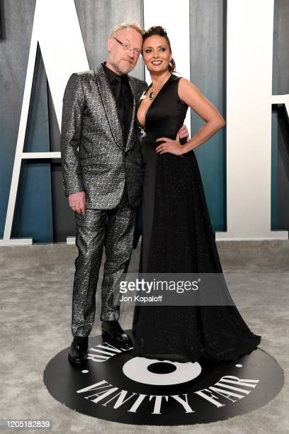 Jared Harris and Allegra Riggio attend the 2020 Vanity Fair Oscar Party hosted by Radhika Jones at Wallis Annenberg Center for the Performing Arts on...
