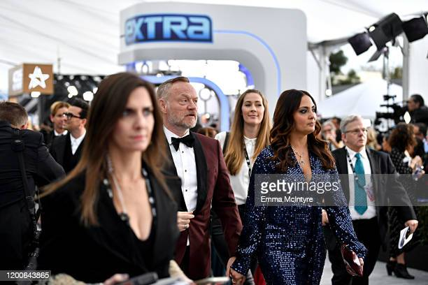 Jared Harris and Allegra Riggio attend the 26th Annual Screen ActorsGuild Awards at The Shrine Auditorium on January 19 2020 in Los Angeles...