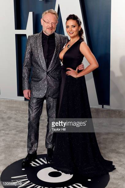 Jared Harris and Allegra Riggio attend the Vanity Fair Oscar Party at Wallis Annenberg Center for the Performing Arts on February 09 2020 in Beverly...