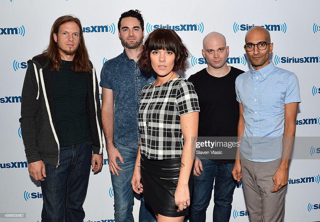 Jared Hartmann, James Culpepper, Kristen May, Pat Seals and Sameer Bhattacharya of hard rock band Flyleaf visits SiriusXM Studios on September 15, 2014 in New York City.
