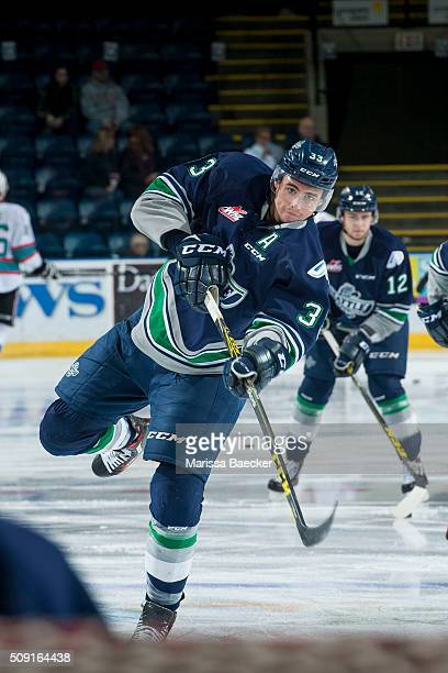 Jared Hauf of the Seattle Thunderbirds warms up against the Kelowna Rockets on February 8 2016 at Prospera Place in Kelowna British Columbia Canada