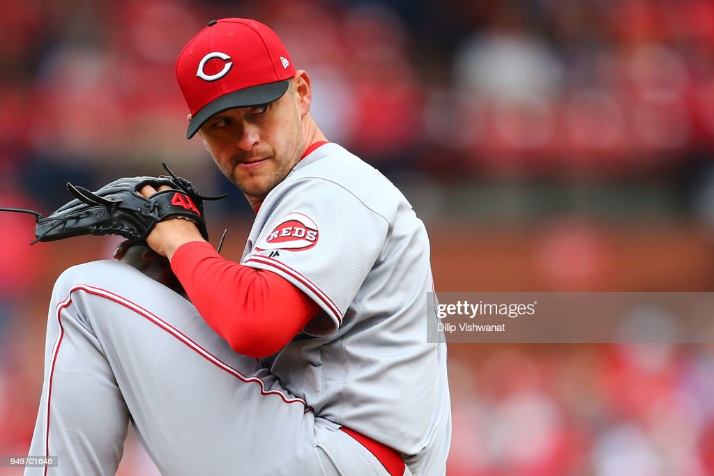 Jared Hughes #48 of the Cincinnati Reds pitches against the St. Louis Cardinals in the seventh inning at Busch Stadium on April 21, 2018 in St. Louis, Missouri.