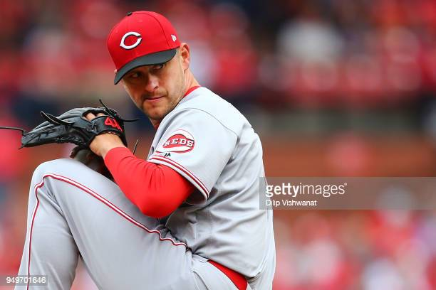 Jared Hughes of the Cincinnati Reds pitches against the St Louis Cardinals in the seventh inning at Busch Stadium on April 21 2018 in St Louis...