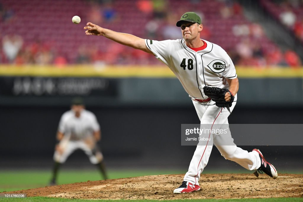 Jared Hughes #48 of the Cincinnati Reds pitches in the eighth inning against the Arizona Diamondbacks at Great American Ball Park on August 10, 2018 in Cincinnati, Ohio. Cincinnati defeated Arizona 3-0.