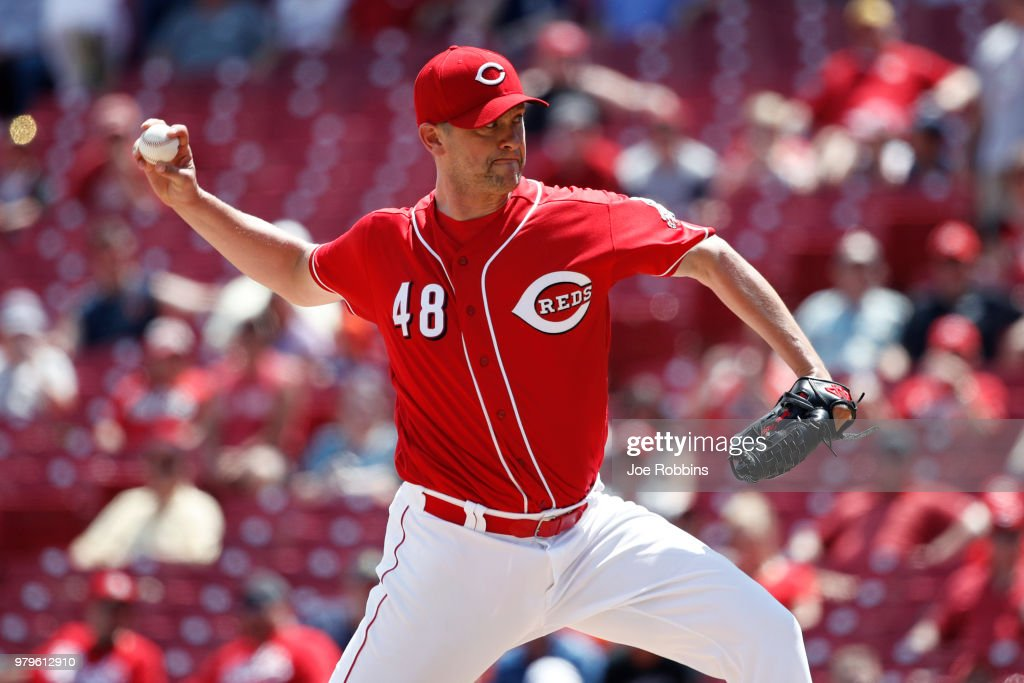Jared Hughes #48 of the Cincinnati Reds pitches in the eighth inning against the Detroit Tigers at Great American Ball Park on June 20, 2018 in Cincinnati, Ohio. The Reds won 5-3.