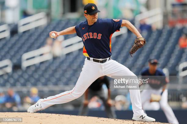 Jared Hughes of the Houston Astros delivers a pitch against the Miami Marlins in the fourth inning of a Grapefruit League spring training game at...