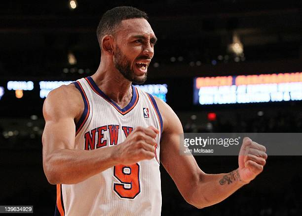 Jared Jeffries of the New York Knicks celebrates against the Utah Jazz on February 6 2012 at Madison Square Garden in New York City The Knicks...
