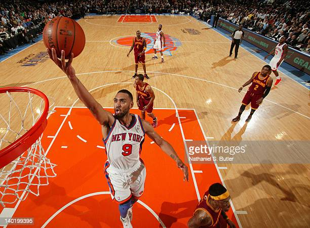 Jared Jeffries of the New York Knicks goes to the basket during the game against the Cleveland Cavaliers on February 29 2012 at Madison Square Garden...
