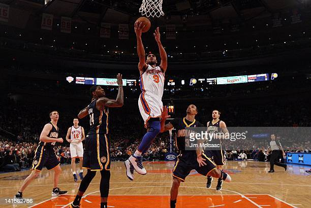 Jared Jeffries of the New York Knicks goes to the hoop against the Indiana Pacers on March 16 2012 at Madison Square Garden in New York City The...