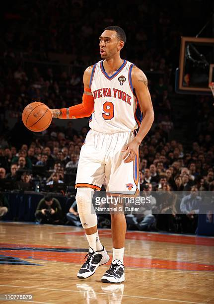 Jared Jeffries of the New York Knicks handles the ball during the game against the Orlando Magic on March 23 2011 at Madison Square Garden in New...