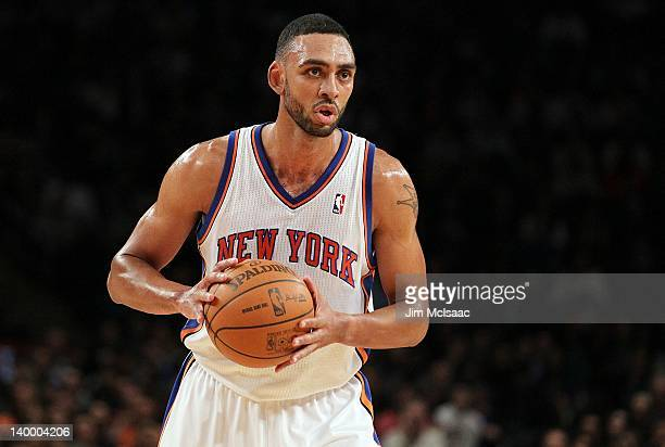 Jared Jeffries of the New York Knicks in action against the New Jersey Nets on February 20 2012 at Madison Square Garden in New York City The Nets...