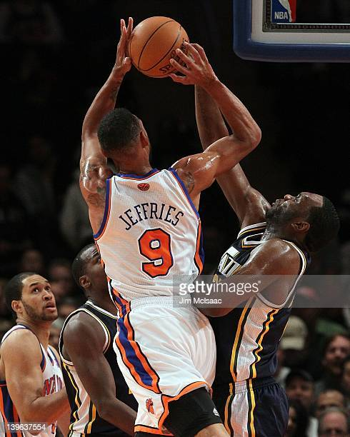 Jared Jeffries of the New York Knicks in action against the Utah Jazz on February 6 2012 at Madison Square Garden in New York City The Knicks...