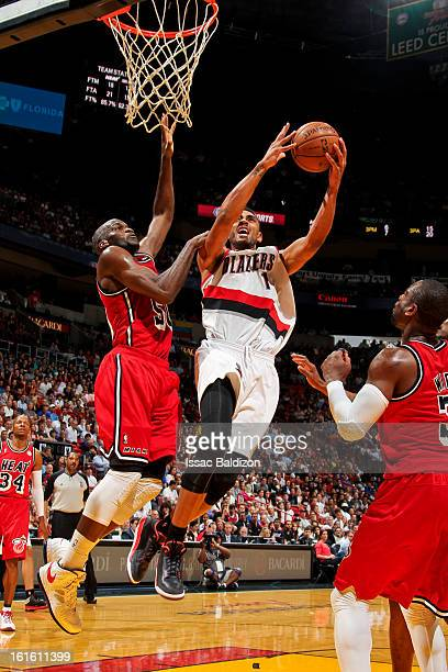Jared Jeffries of the Portland Trail Blazers drives to the basket against Joel Anthony of the Miami Heat on February 12 2013 at American Airlines...