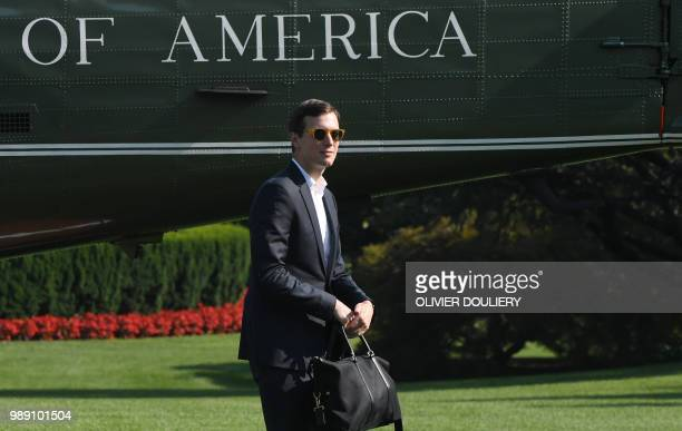 Jared Kushner a senior adviser and soninlaw of US President Donald Trump crosses the South Lawn upon arrival at the White House on July 1 2018 in...