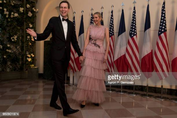 Jared Kushner and Ivanka Trump arrive at the White House for a state dinner April 24 2018 in Washington DC President Donald Trump is hosting French...