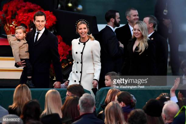 Jared Kushner and Ivanka Trump arrive with their children at the 95th annual National Christmas Tree Lighting on the Ellipse November 30 2017 in...