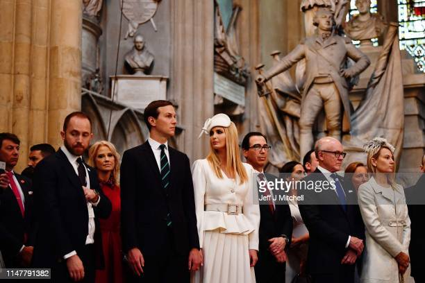 Jared Kushner and Ivanka Trump look on as US President Donald Trump and First Lady Melania Trump lay a wreath at the Tomb of the Unknown Warrior...