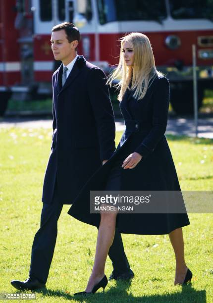 Jared Kushner and Ivanka Trump make their way to board Marine One before departing from South Lawn of the White House in Washington DC on October 30...