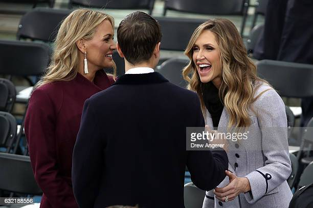 Jared Kushner arrives with Vanessa Trump and Lara Trump on the West Front of the US Capitol on January 20 2017 in Washington DC In today's...