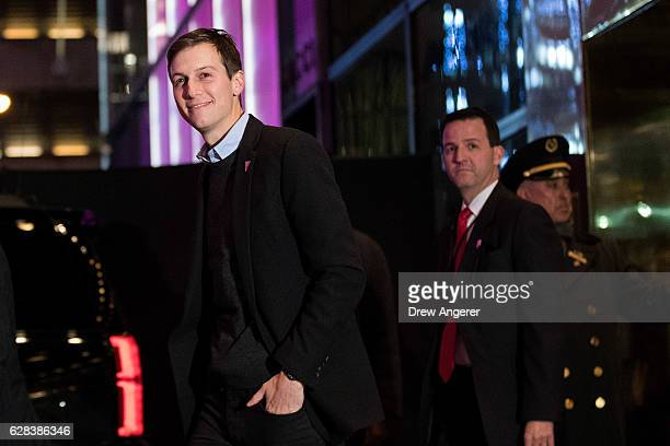 Jared Kushner exits Trump Tower December 7 2016 in New York City Presidentelect Donald Trump and his transition team are in the process of filling...