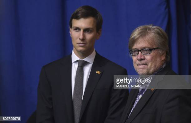 Jared Kushner husband of Ivanka Trump and Donald Trump's campaign Chief Executive Officer Stephen Bannon watch as Republican presidential nominee...