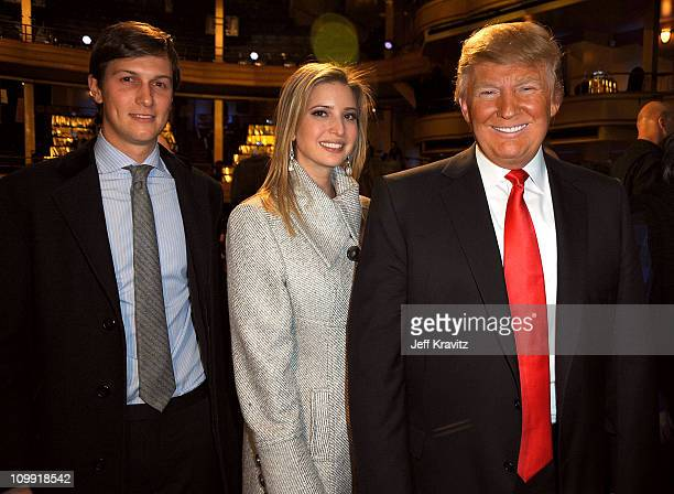 Jared Kushner, Ivanka Trump and Donald Trump attend the COMEDY CENTRAL Roast of Donald Trump at the Hammerstein Ballroom on March 9, 2011 in New York...