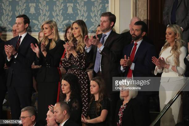 Jared Kushner Ivanka Trump Lara Trump Eric Trump Donald Trump Jr and Tiffany Trump look on during the State of the Union address in the chamber of...
