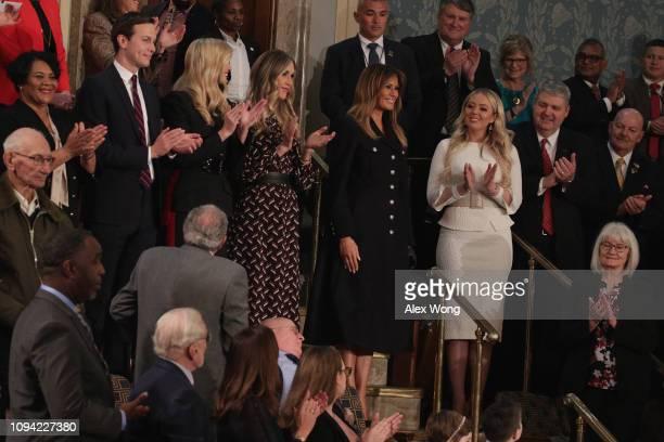Jared Kushner Ivanka Trump Lara Trump Melania Trump Eric Trump Donald Trump Jr and Tiffany Trump look on during the State of the Union address in the...
