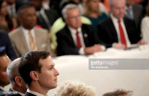 Jared Kushner listens as US President Donald Trump speaks at an event where Trump signed an executive order establishing a National Council for the...