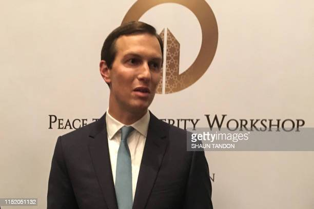Jared Kushner President Donald Trump's soninlaw and adviser speaks to reporters as he closes the USsponsored Middle East economic conference Peace to...