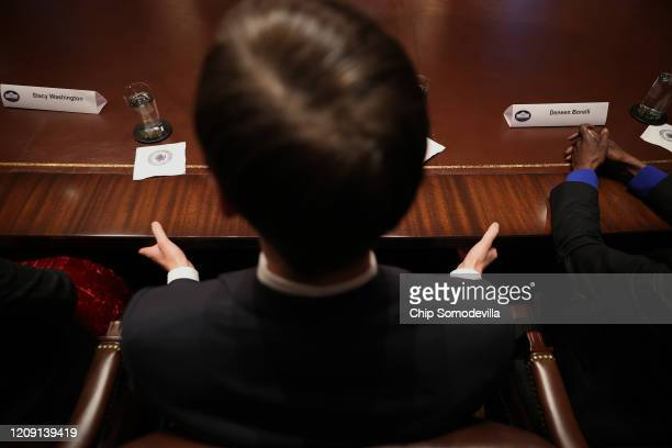 Jared Kushner senior advisor and soninlaw of US President Donald Trump listens as African American supporters praise the president during meeting in...